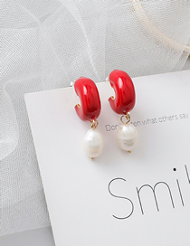 Fashion Red C-shaped Drop Glazed Pearl Earrings
