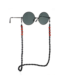 Black Non-slip Beaded Natural Stone Glasses Chain