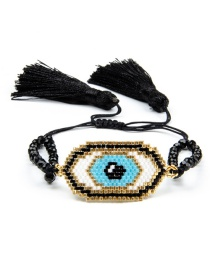Black Rice Bead Braided Eye Crystal Tassel Bracelet