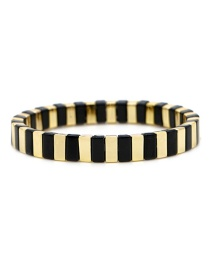 Black + Gold Long Strip Alloy Paint Color Retaining Bracelet