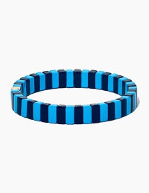 Blue Long Strip Alloy Paint Color Retaining Bracelet