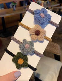 A Small Flower / Set Of 4 Plush Geometric Hair Rope  Rubber Band