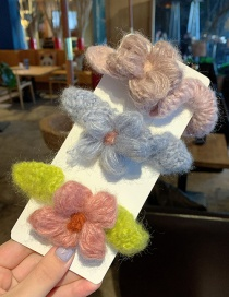 Q Flower Wide Side / 3 Piece Set Plush Geometric Hair Rope  Rubber Band