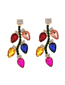 Fashion Color Alloy Studded Resin Stud Earrings