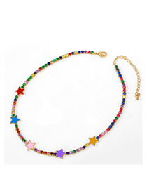 Fashion Color Drip Oil Five-pointed Star Set With Colored Diamond Necklace