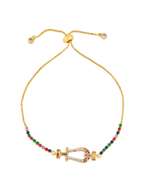 Fashion Color Copper Plated Inlaid Colored Zircon Bracelet