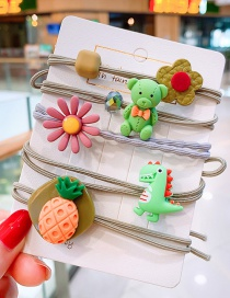 K Mixed Color Dinosaur Floret Glass Cartoon Fruit Flower Hair Circle  Rubber Band