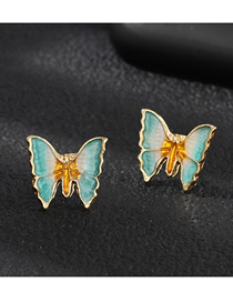 Fashion Blue Three-dimensional Butterfly Earrings