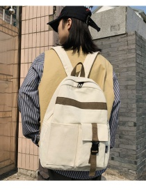 Fashion White Contrast Double Backpack