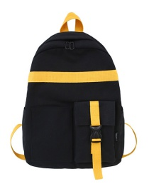 Fashion Black Contrast Double Backpack