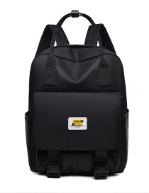 Fashion Black Contrast Stitching Ribbon Buckle Backpack