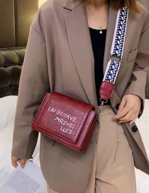 Fashion Red Wine Shoulder Strap Letter Crossbody Shoulder Bag