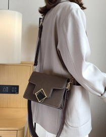 Fashion Coffee Color Geometric Square Buckle Shoulder Messenger Bag