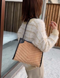 Fashion Brown Plush Chain Shoulder Messenger Bag