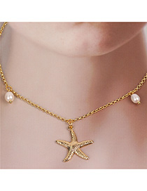 Fashion Golden Stainless Steel Chain Star Gold Pearl Star Necklace