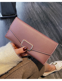Fashion Pink Square Buckle Embroidered Thread Long Wallet