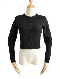 Fashion Black Buttoned Single-breasted Knitted Sweater Cardigan