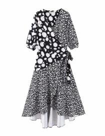 Fashion Black Colorblock Floral Print Wrap Dress
