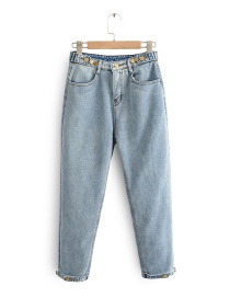 Fashion Light Blue Cropped High Waist Wide Leg Plus Velvet Denim Pants