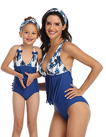 Fashion Royal Blue Contrast Stitching Fringed Parent-child One-piece Swimsuit For Children