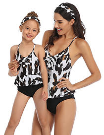 Fashion Milk Texture Siamese Printed Knotted Parent-child One-piece Swimsuit For Children