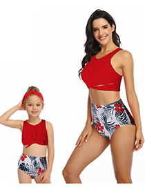 Fashion Red Hollow Ruffled Fringe High Waist Bikini Children