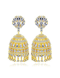 Fashion Golden Hollow Fringed Copper Stud Earrings With Zircon