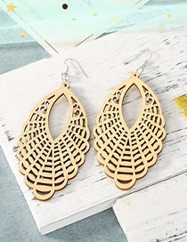 Fashion Beige Carved Hollow Wood Geometric Large Earrings