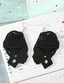 Fashion Black Carved Hollow Head Wood Large Earrings
