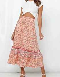 Fashion Orange Pink Elastic Waist Print Skirt
