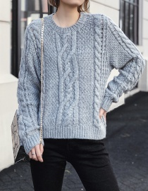 Fashion Gray Eight-strand Knitted Sweater