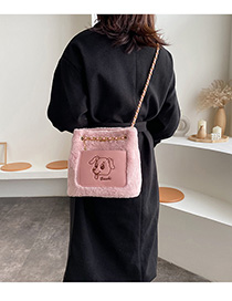 Fashion Pink Chain Stitching Shoulder Crossbody Bag