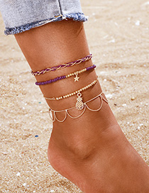 Fashion Golden Mizhu Pineapple Star Tassel Anklet Set Of 4