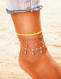Fashion Golden Rhinestone Small Bell Tassel Multilayer Eye Anklet Set Of 4
