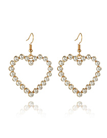 Fashion Golden Love Cross Pearl Earrings
