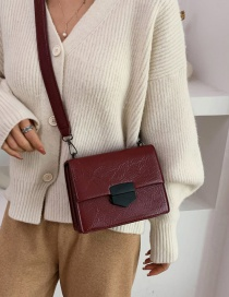 Fashion Red Wine Envelope Lock Shoulder Crossbody Bag