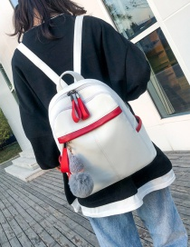 Fashion White With Pendant Contrast Stitching Backpack