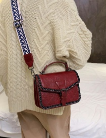 Fashion Red Wine Wide Shoulder Strap Shoulder Bag