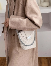 Fashion Small Beige Diamond Chain Lock Shoulder Bag