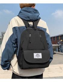 Fashion Black Oxford Label Backpack