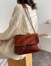 Fashion Brown Car Chain Chain Diagonal Cross Shoulder Bag