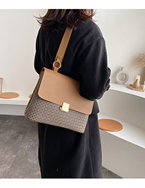 Fashion Camel Checked Shoulder Tote