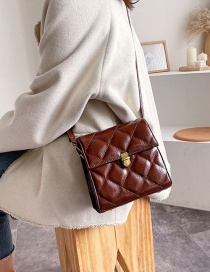 Fashion Coffee Color Diamond Check Buckle Crossbody Bag