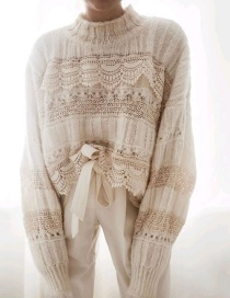 Fashion Creamy-white Lace-paneled Knitted Sweater