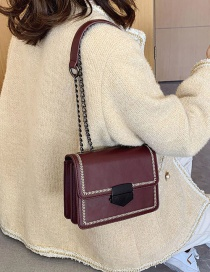 Fashion Red Wine Embroidered Chain Shoulder Bag