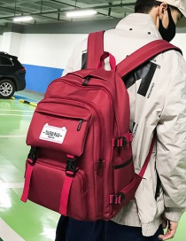 Fashion Red Labeled Web Strap Backpack