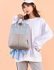Fashion Light Blue Contrast Stitching Backpack