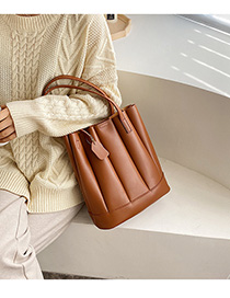 Fashion Brown Pleated Panel Shoulder Bag