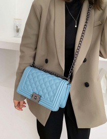 Fashion Blue Diamond Check Stitched Chain Shoulder Bag