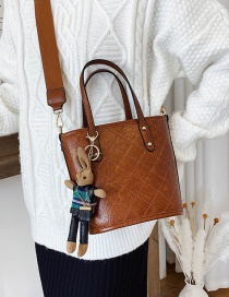 Fashion Brown Send Pendant Rhombus Rabbit Shoulder Bag